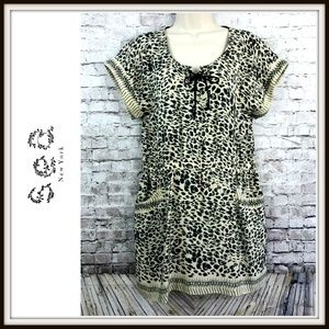 Sea New York Leopard Silk Lace Up Front Dress